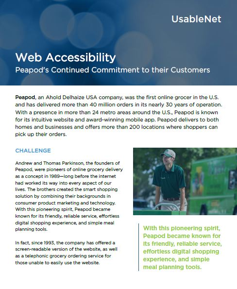 first page of Peapod case study