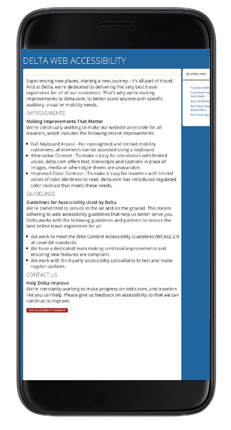 Delta web accessibility