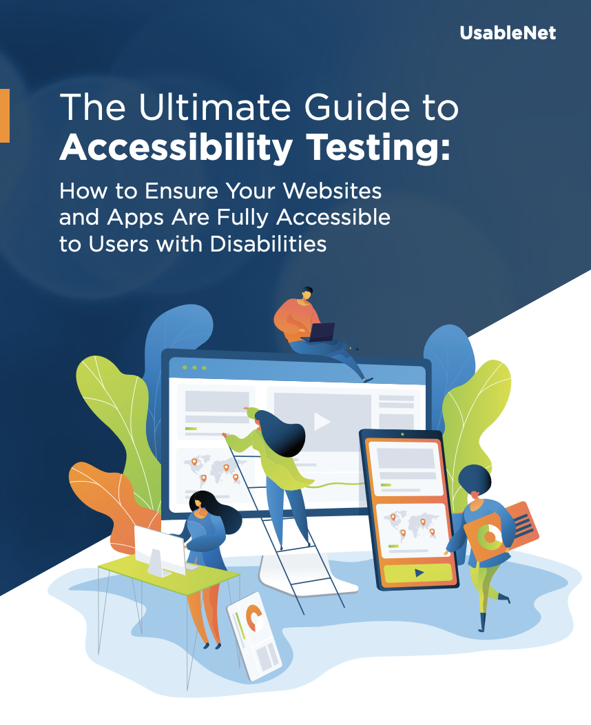 Whitepaper cover that says, The Ultimate Guide to Accessibility Testing.