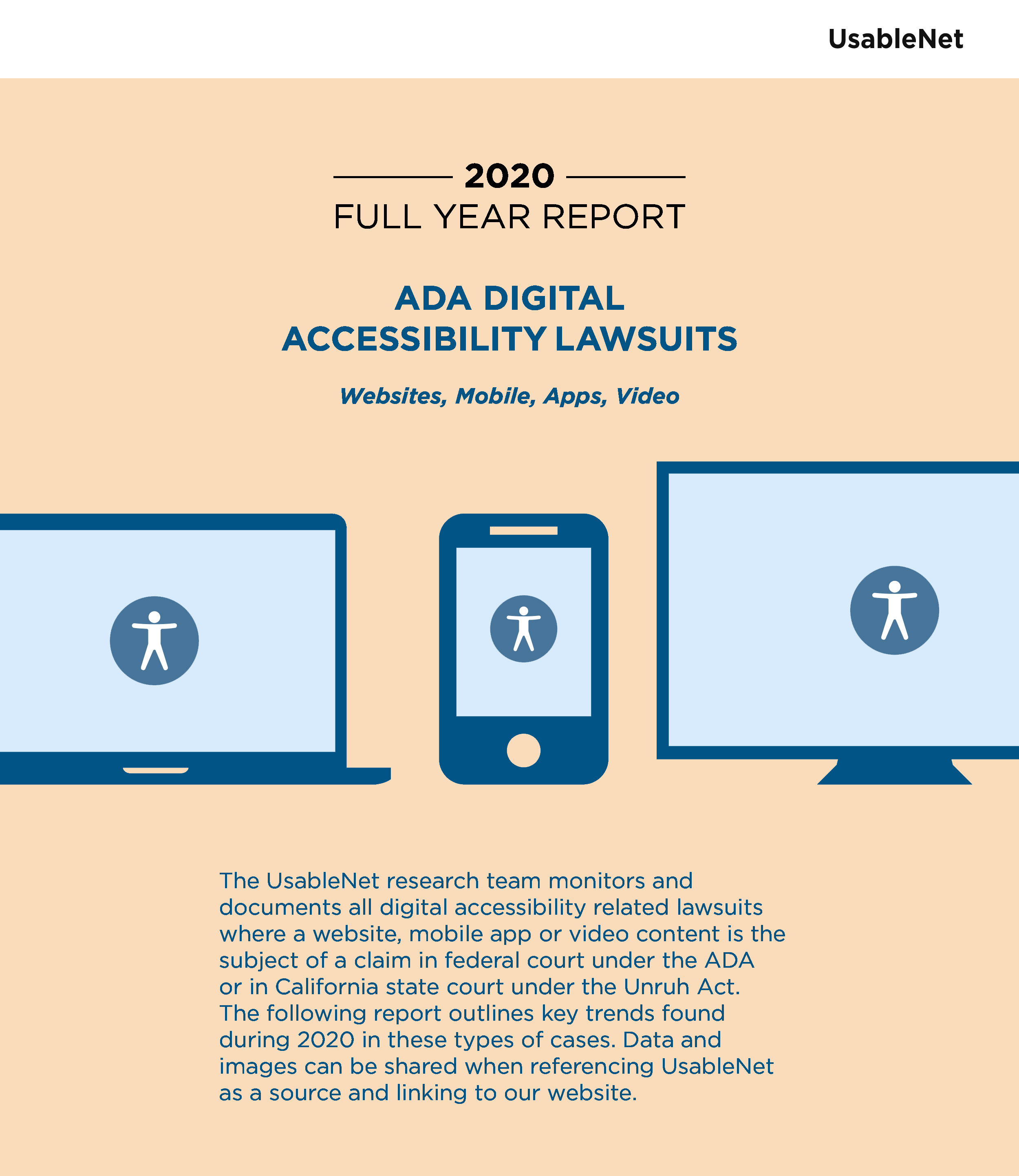 Cover of the 2020 Full Year Report on ADA Digital Lawsuits