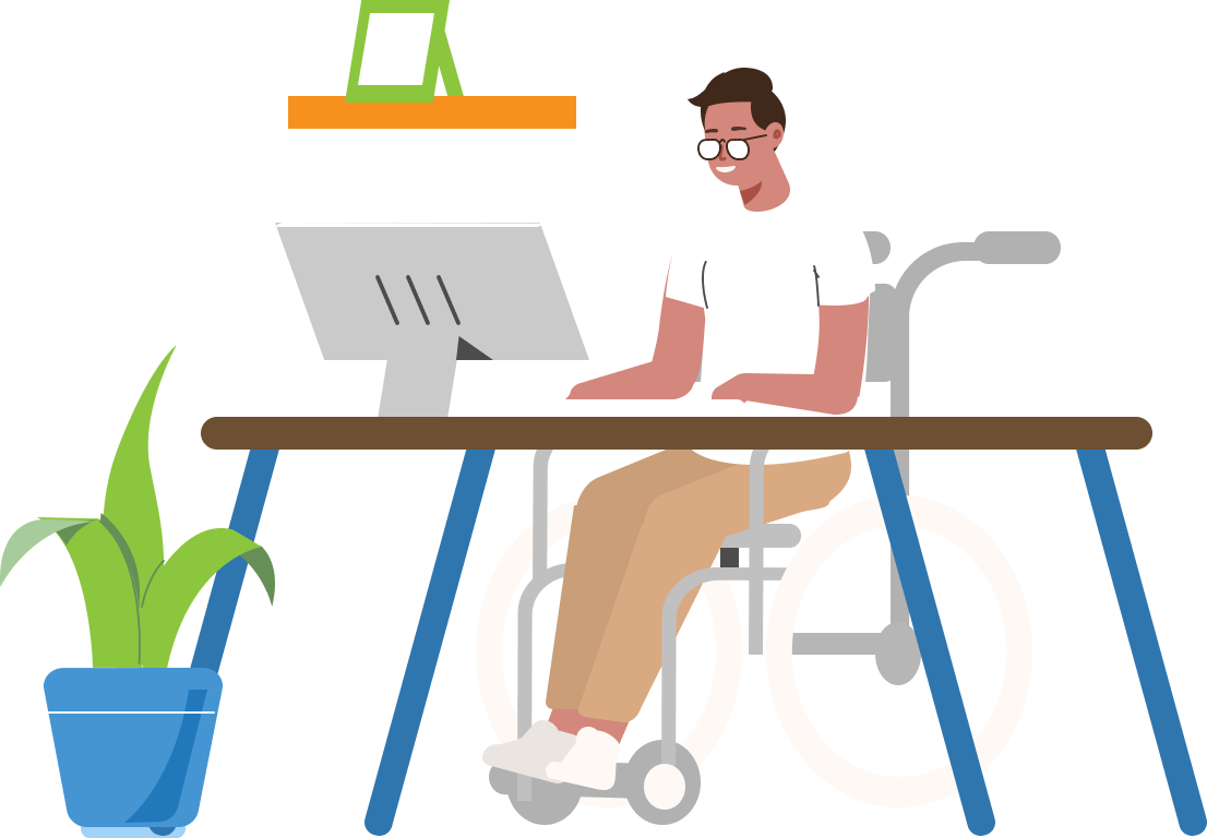 Illustration of person in wheelchair using computer