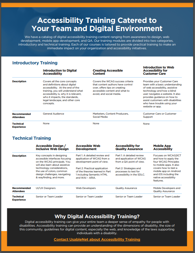 accessibility training brochure cover