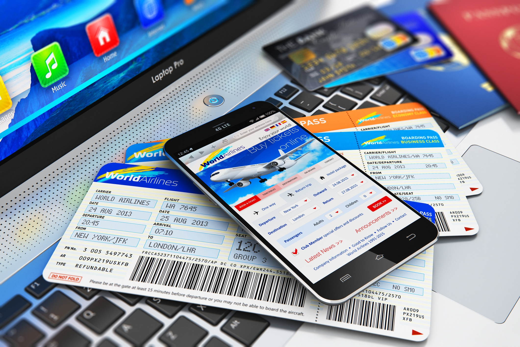 digital travel image- smartphone with boarding pass